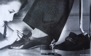 Men's Moccasins in leather with exchangeable buckles. Medway Shoes (detail, Vogue & Tatler magazine, photo by Willie Christie, 1979)