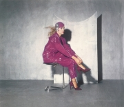 Purple suede shoe with spaghetti strap (Vogue & Tatler magazines, photo by Willie Christie, 1980)