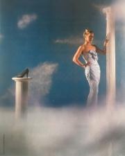 Grey suede scallop court (Vogue, Tatler & Cosmoplitan magazines, photo by Willie Christie, 1980)