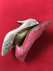 Grey and taupe snakeskin court and red snakeskin court. Sarah Medway Couture Shoes (1984)